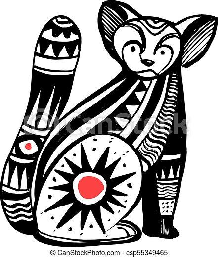 Tribal Vecteur Chat Illustration Encre