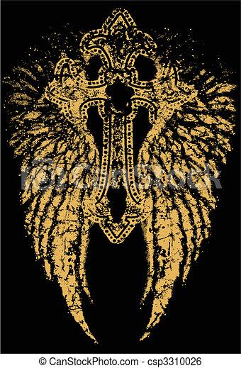 tribal wing cross graphic - csp3310026