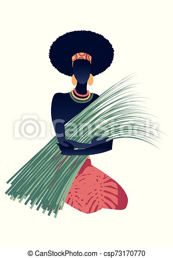 Tribal zodiac. Virgo. Woman in patterned dress with plants, earrings and necklaces, sitting on the ground holding a bunch of reeds. - csp73170770