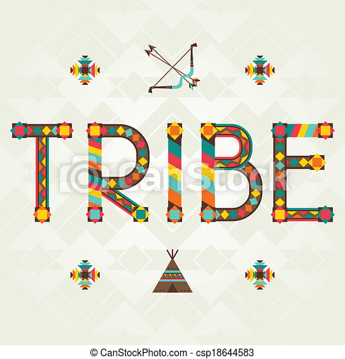 Tribe. Design word with ornament. - csp18644583