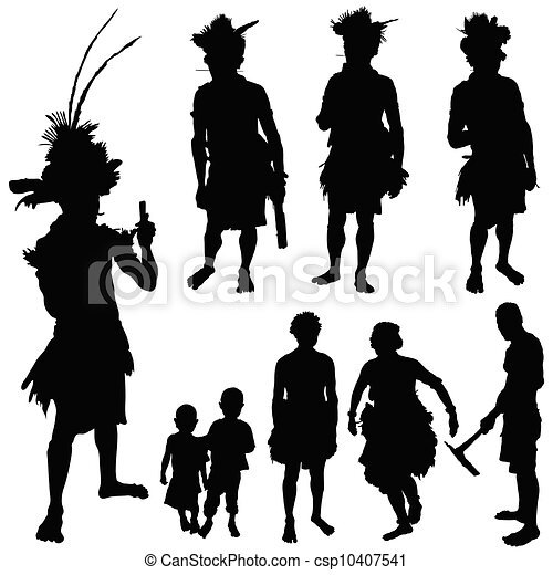 tribe people vector silhouette - csp10407541