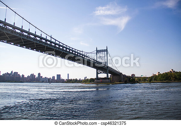 Triborough bridge over the river with blue sky, New York - csp46321375