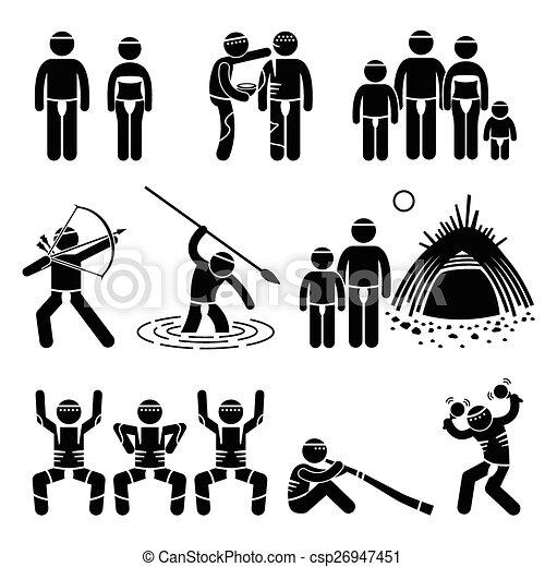 tribu, aborigène, indigène, indigène - csp26947451