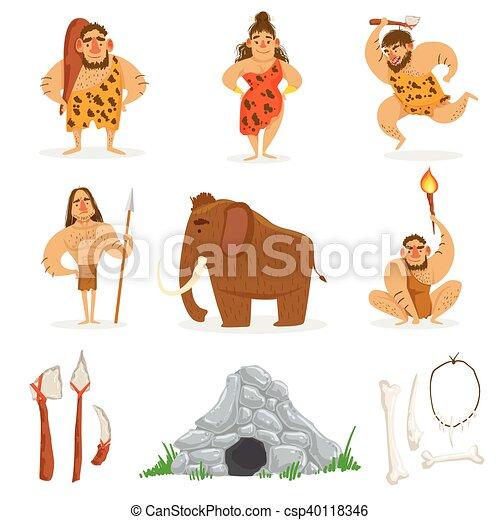tribu, pierre, gens, âge, apparenté, objets - csp40118346