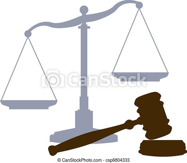 tribunal, balances, système justice, légal, symboles, marteau - csp6804333