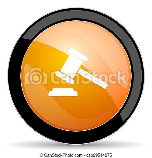 tribunal, enchère, symbole, signe, verdict, orange, icône - csp29514275
