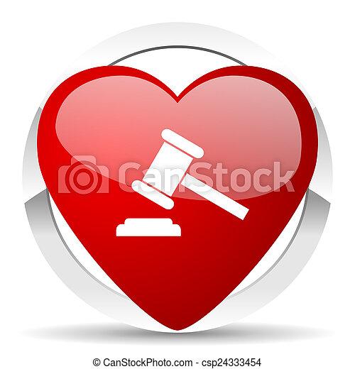 tribunal, enchère, symbole, valentin, verdict, signe, icône - csp24333454