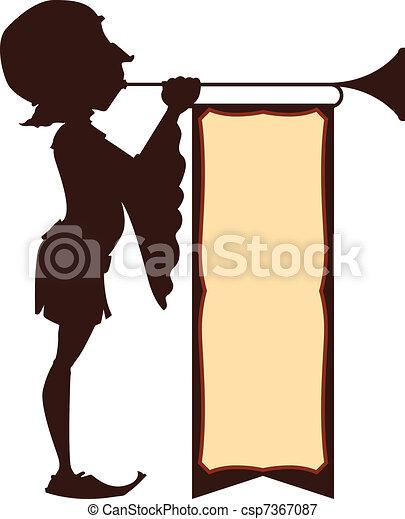 tribunal, illustration, trumpeter - csp7367087