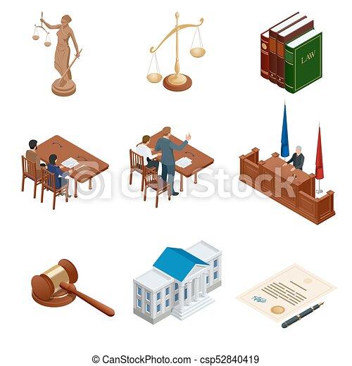 tribunal, isométrique, regulations., icônes, set., justice., légal, symboles, vecteur, illustration, jugement, juridique, droit & loi, marteau, juridique - csp52840419