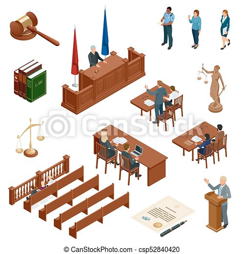 tribunal, isométrique, regulations., icônes, set., justice., légal, symboles, vecteur, illustration, jugement, juridique, droit & loi, marteau, juridique - csp52840420