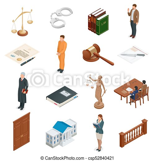tribunal, isométrique, regulations., icônes, set., justice., légal, symboles, vecteur, illustration, jugement, juridique, droit & loi, marteau, juridique - csp52840421