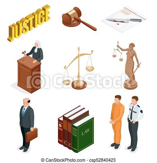 tribunal, isométrique, regulations., icônes, set., justice., légal, symboles, vecteur, illustration, jugement, juridique, droit & loi, marteau, juridique - csp52840423
