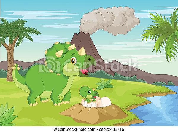triceratops, bab, dessin animé, mère - csp22482716
