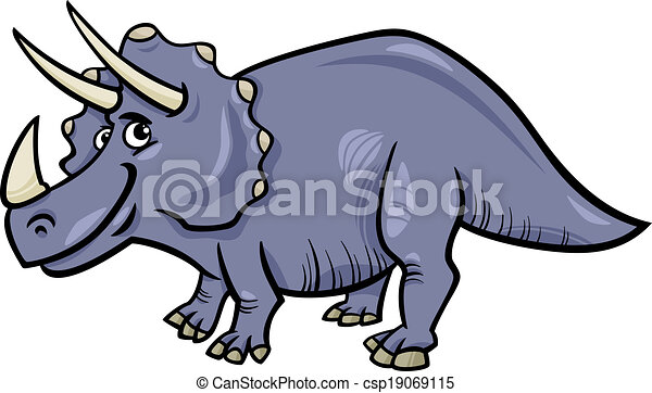 triceratops dinosaur cartoon illustration - csp19069115