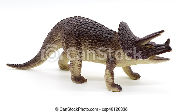 triceratops dinosaurs toy on white background