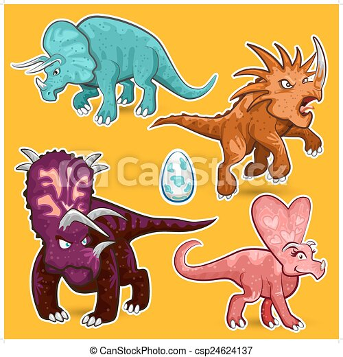Triceratops Rhino Dinosaurs Sticker - csp24624137