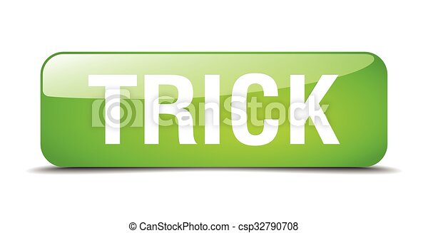 trick green square 3d realistic isolated web button - csp32790708