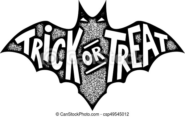 Halloween Trick Or Treat Silhouette.Trick Or Treat Bat Silhouette Isolated On White Background Halloween Sign Vector Illustration
