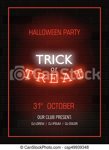 Trick or treat light banner modern neon billboard on brick wall modern neon billboard on brick wall bright signboard halloween party stopboris Choice Image