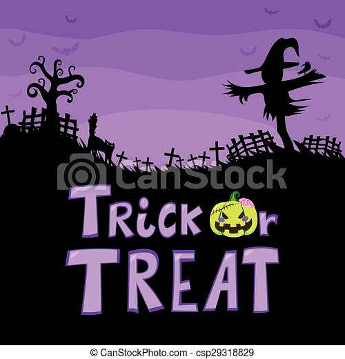 Trick Or Treat Scarecrow Cemetery - csp29318829
