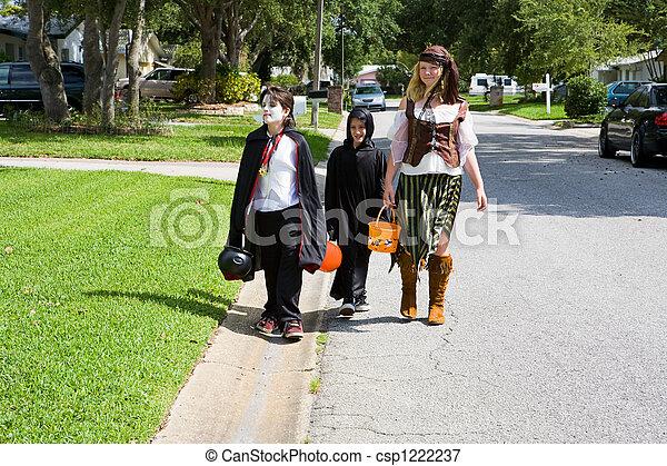 Trick or Treating in Neighborhood - csp1222237