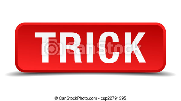 Trick red 3d square button isolated on white - csp22791395