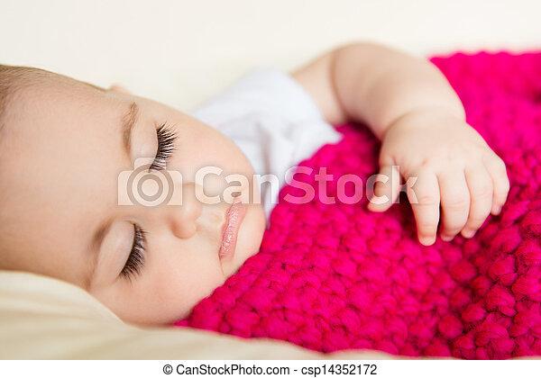 tricotado, cobertor bebê, coberto, dormir - csp14352172
