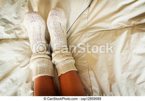 tricotado, meias - csp12859589