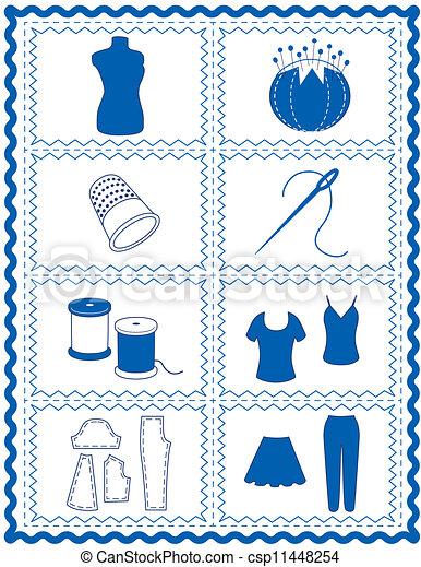 tricote, cosendo, arte, crochet, ícones - csp11448254