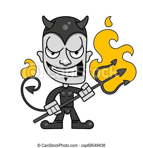 trident, かわいい, 小悪魔, 燃えている, ベクトル, 角, ロゴ - csp69549438