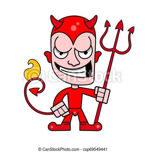 trident, かわいい, 小悪魔, 燃えている, ベクトル, 角, ロゴ - csp69549441