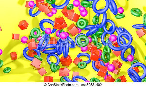 tridimensionnel, arrière-plan., jaune, rendre, figures, 3d - csp69531402