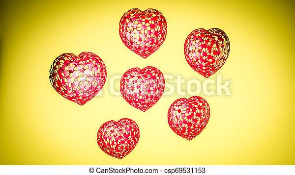 tridimensionnel, arrière-plan., jaune, rendre, cœurs, modèle, 3d - csp69531153