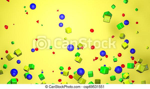 tridimensionnel, arrière-plan., jaune, rendre, figures, 3d - csp69531551