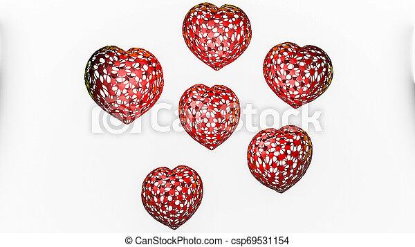 tridimensionnel, arrière-plan., rendre, cœurs, modèle, blanc, 3d - csp69531154