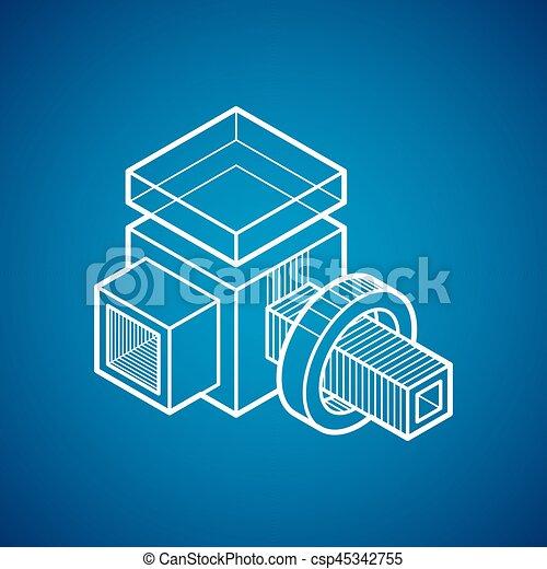 tridimensionnel, résumé, forme., trigonometric, ingénierie, vecteur, construction - csp45342755