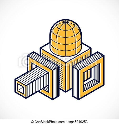 tridimensionnel, résumé, forme., trigonometric, ingénierie, vecteur, construction - csp45349253