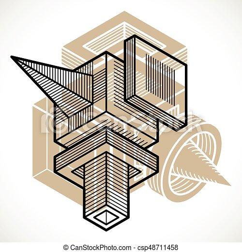 tridimensionnel, résumé, forme., trigonometric, ingénierie, vecteur, construction - csp48711458