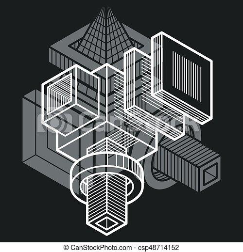 tridimensionnel, résumé, forme., trigonometric, ingénierie, vecteur, construction - csp48714152
