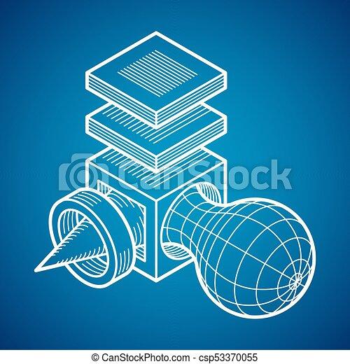 tridimensionnel, résumé, forme., trigonometric, ingénierie, vecteur, construction - csp53370055