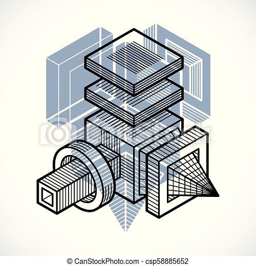 tridimensionnel, résumé, forme., trigonometric, ingénierie, vecteur, construction - csp58885652