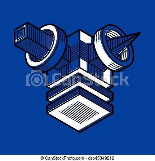 tridimensionnel, résumé, forme., trigonometric, ingénierie, vecteur, construction - csp45349212