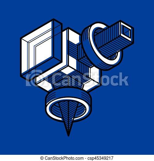 tridimensionnel, résumé, forme., trigonometric, ingénierie, vecteur, construction - csp45349217