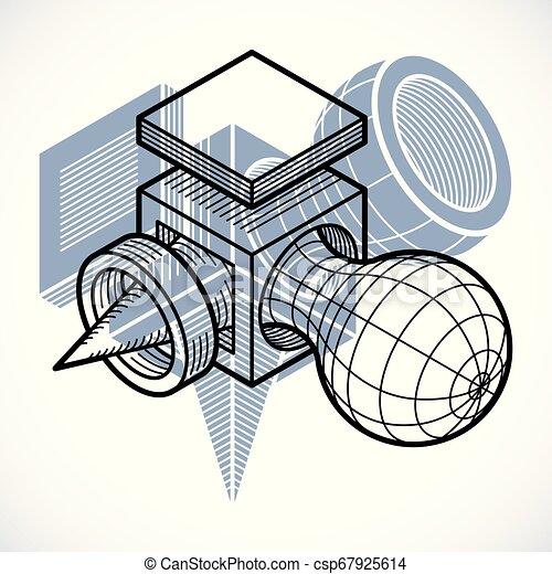 tridimensionnel, résumé, forme., trigonometric, ingénierie, vecteur, construction - csp67925614