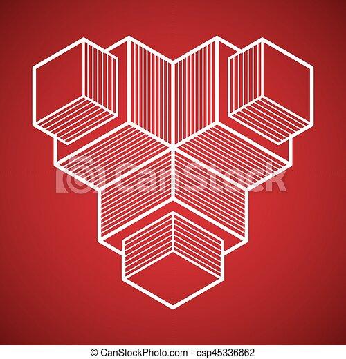 tridimensionnel, résumé, forme., trigonometric, ingénierie, vecteur, construction - csp45336862