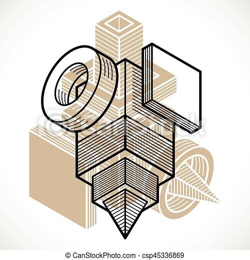 tridimensionnel, résumé, forme., trigonometric, ingénierie, vecteur, construction - csp45336869