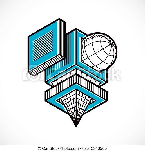 tridimensionnel, résumé, forme., trigonometric, ingénierie, vecteur, construction - csp45348565