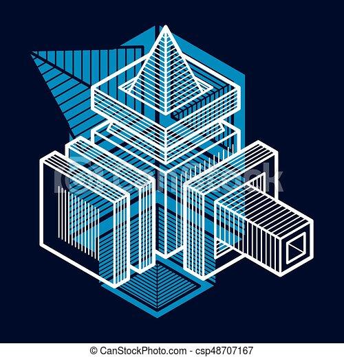 tridimensionnel, résumé, forme., trigonometric, ingénierie, vecteur, construction - csp48707167