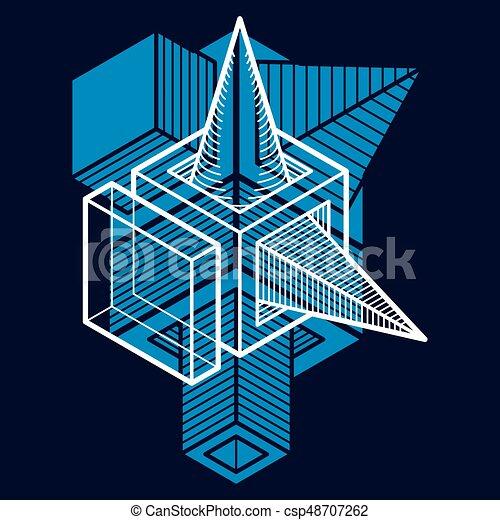 tridimensionnel, résumé, forme., trigonometric, ingénierie, vecteur, construction - csp48707262