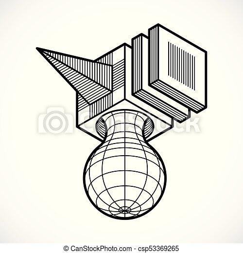 tridimensionnel, résumé, forme., trigonometric, ingénierie, vecteur, construction - csp53369265